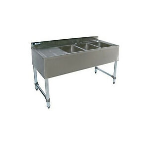 Stainless Steel Bar Sink 48 Three Sink Left Drain Commercial Bar Equipment