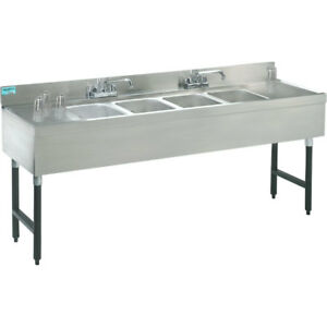 Stainless Steel Bar Sink Four Compartment 83 Width Commercial Equipment