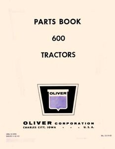 Oliver 600 Tractor Parts Manual Book
