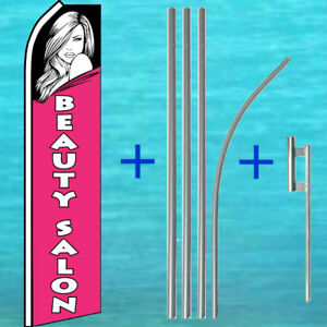 Beauty Salon Flutter Flag Pole Mount Kit Tall Curved Feather Swooper Banner