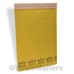 200 2 8 5x12 Kraft Ecolite Bubble Mailers Padded Envelopes Bags 100 Usa