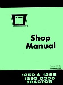 Oliver 1250 a 1255 1265 Tractor Shop Service Manual