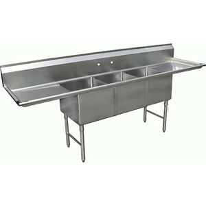 3 Compartment Stainless Steel Sink 16 X 19 W Two 18 Drain Boards Etl Sh1619d3d