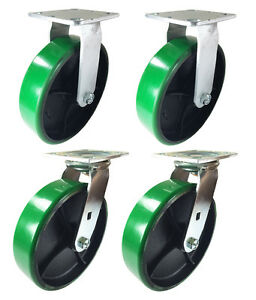 8 X 2 Green Polyurethane On Cast Iron Casters 2 Swivels 2 Rigids