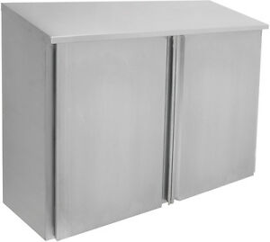 Ace Cwd 1560h 15x60x35 Stainless Steel Slope Top Wall Cabinet 2 Hinged Doors
