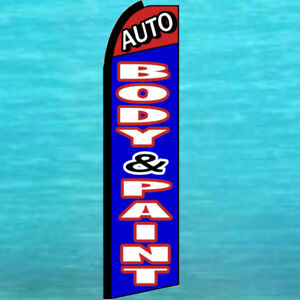 Auto Body Paint Shop Swooper Flag Tall Advertising Sign Flutter Feather Banner