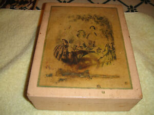 Antique Wooden Dovetail Box W 19th Century Picture Lid