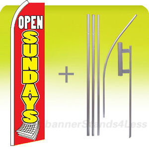 Swooper Feather 15 Banner Flag pole Kit open Sundays