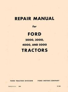Ford 2000 3000 4000 5000 5100 5200 7000 Tractors Repair Service Manual