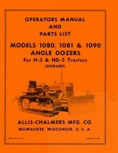 Allis Chalmers H 3 Hd 3 H3 Angle Dozer Operators Manual