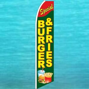 Burger Fries Special Flutter Flag Tall Feather Swooper Advertising Banner Sign