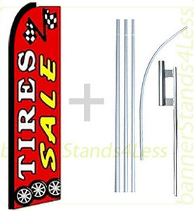 Tires Sale Swooper Flag Kit Feather Flutter Banner Sign 15 Tall Red Rq