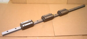 Set Of 3 Thk Hsr25 Block Linear Bearings With Guide Rail