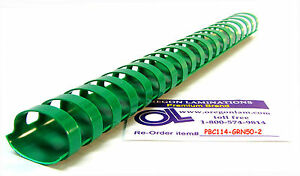 Plastic Comb Binding Spines 1 1 4 inch 32mm 19 Ring pk Of 100 kelly Green