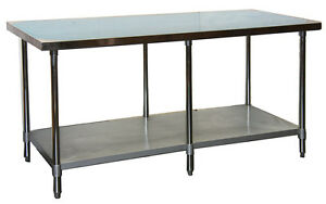 Ace 30 x72 Stainless Steel Work Table W Galvanized Shelf Legs Etl Wt ee3072