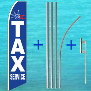 Liberty Income Tax Services 15 Tall Advertising Flag Kit Feather Swooper Banner