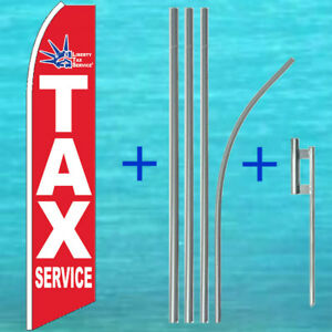 Liberty Tax Service Flutter Flag Pole Mount Kit Tall Feather Swooper Banner