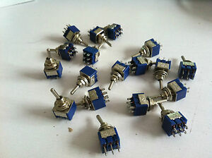 100pcs Mts 203 6 pin Dpdt On off on Toggle Switch 6a 125vac