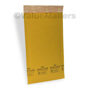 250 00 5x10 Kraft Ecolite Bubble Mailers Padded Envelopes Bags Self Seal 5 X 10