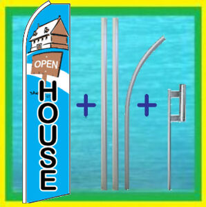 Open House 15 Tall Super Flag Kit Advertising Sign Feather Swooper Bow Banner