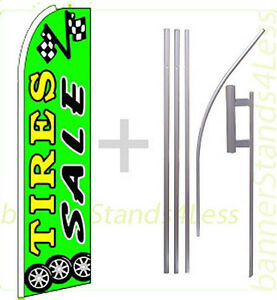 Tires Sale Swooper Flag Kit Feather Flutter Banner Sign 15 Green Gq