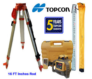 New Topcon Rl h5a Rotary Laser Level With Tripod And 16 Foot Rod Inches