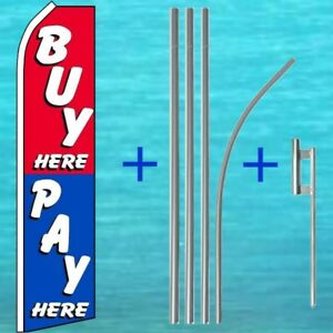 Buy Pay Here Flutter Flag 15 Pole Mount Kit Feather Swooper Bow Banner 1046