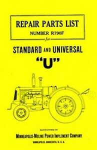 Minneapolis Moline Model U Uts Utu Standard Universal Tractor Parts List Manual