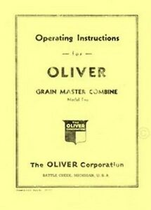 Oliver Model Two 2 Grain Master Combine Manual Operators Manual Ol