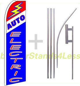 Auto Electric Swooper Flag Kit Feather Flutter Banner Sign 15 Tall Bq