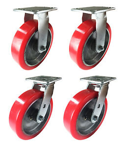 8 X 2 Aluminum Wheel Casters 2 Swivels 2 Rigids