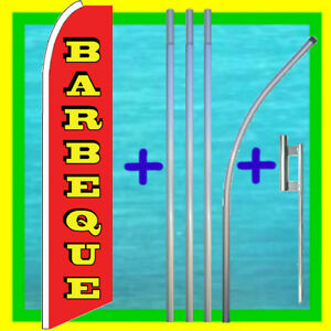 Barbeque 15 Flag Kit W Pole Mount Bbq Advertising Sign Feather Swooper Banner