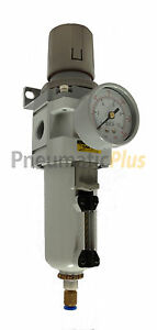 Pneumaticplus Air Filter Regulator Piggyback 1 2 Npt Auto Drain Metal Bowl