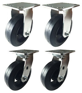 6 X 2 Heavy Duty rubber On Cast Iron Caster 2 Swivels And 2 Rigids