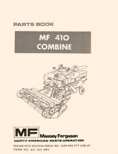Massey Ferguson Mf410 Mf 410 Combine Parts Book Manual Ser 1200006777 And Up