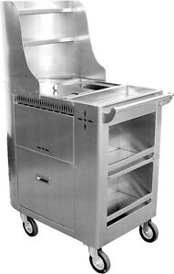 Ace Stainless Steel Chinese Dim Sum Boil Cart W 6 Swivel Casters C boil