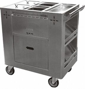 Ace Stainless Steel Chinese Dim Sum Cart W 6 Swivel Casters C grl