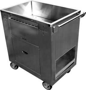 Allstrong Stainless Steel Chinese Dim Sum Cart W 6 Swivel Casters C stm