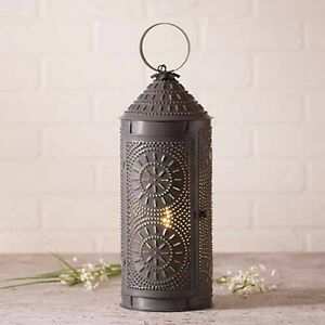 18 Chimney Lantern In Blackened Tin Decorative Rustic Accent Lamp