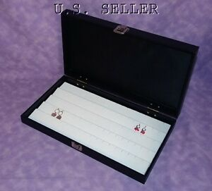 Traveling White 90 Earring Jewelry Display Case Hinged Lid