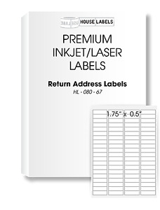 64000 Labels 800 Sheets 80 Up 1 3 4 x 1 2 White Return Address Labels 1 75x0 5
