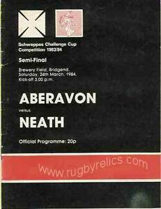 ABERAVON v NEATH 1984 SCHWEPPES CHALLENGE CUP COMPETITION SEMI FINAL RUGBY PROG GBP 8.99