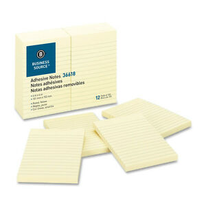 Sticky Notes Ruled 100 Sh pad 4x6 Yellow Color Jumbo Lot Of 15 Pads