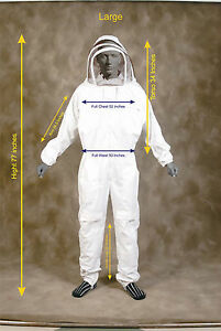 Professional Heavy Duty Bee Suit Beekeeping Supply Suit w Gloves Large