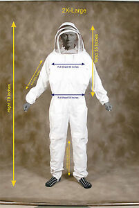 Professional Heavy Duty Bee Suit Beekeeping Supply Suit w Gloves 2x Large