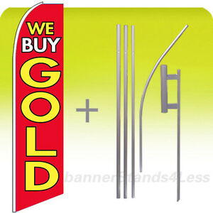 We Buy Gold Swooper Flag Kit Feather Flutter Banner Sign 15 Rb