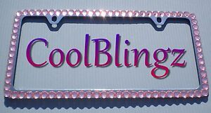 Big Baby Pink Crystal Bling Diamond Rhinestone License Plate 2 Holes Frame