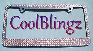 Baby Pink Crystal Ab Mega Bling Diamond Rhinestone License Plate metal Frame