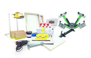 Silk Screen Printing Press 4 Color Heat Gun Exposure Unit Equipment Kit Setup