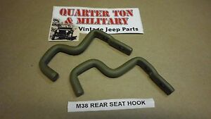 Jeep Willys M38 Rear Seat Hooks Pair Correct Us Made G740